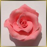 цветок Роза 70мм бело-розовая 1шт. мастика сах.