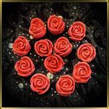 цветок Роза 20мм (оттиск) красная  6шт. мастика сах.