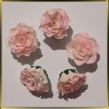 цветок Роза 30мм пушистая белая с роз. краями 5шт. мастика сах.
