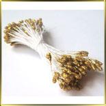 пестики-тычинки с блестками 1мм золотые